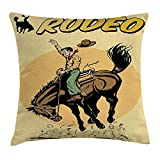 VVIANS Retro Throw Pillow Cushion Cover, Old Style Art of Rodeo Cowboy Riding Horse American Wild West Artistic Work, Decorative Square Accent Pillow Case, 18 X 18 Inches, Yellow Brown Orange