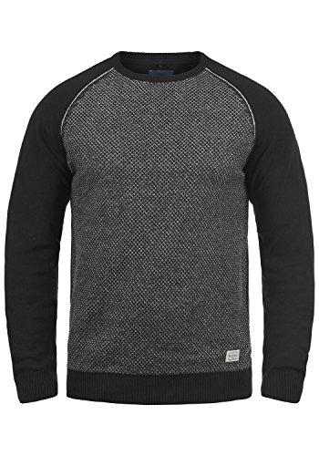 BLEND Gajus Herren Strick-Pullover Feinstrick-Pulli aus hochwertiger Baumwollmischung mit Rundhals-Ausschnitt Black (70155)