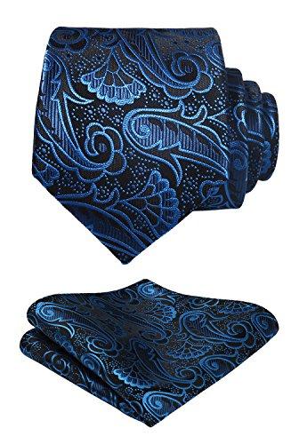 Hisdern Herren Krawatte Blumen Paisley Krawatte & Einstecktuch Set Blau Schwarz