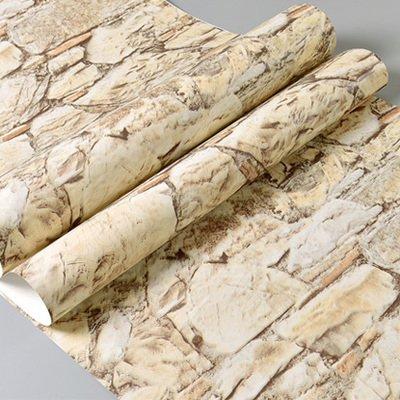 DUOCK Gray 3D di pietra della parete di mattoni di rotoli di carta camera da letto sala da pranzo Soggiorno 3D effetto in finta pietra Wallpaper Rivestimento parete Home Decor, giallo 53cm X 10M