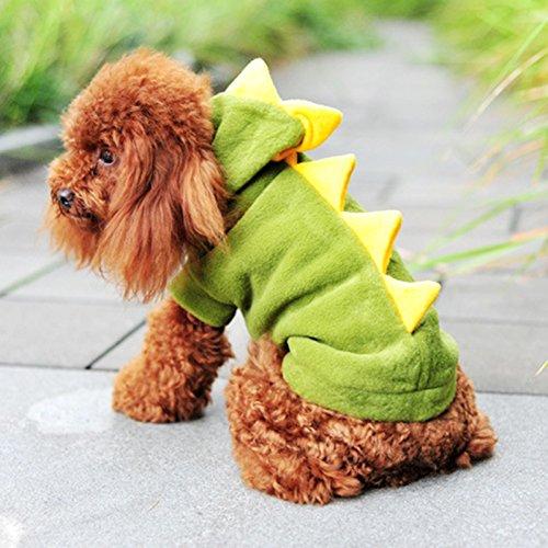 tier kleidung winter produkte für Katze hund heißer pet produkte niedlich dinosaurier verkauf kleidung grün 1 (XS) (Kostüme Für Verkauf Uk)