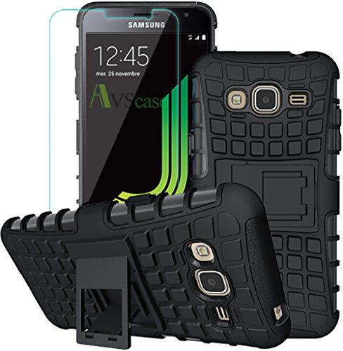 AVSCASE - Pack Samsung Galaxy J3 2016 - Coque Antichocs + Verre Trempé - Support Video Web TV Integré - Support Horizontal Bequille