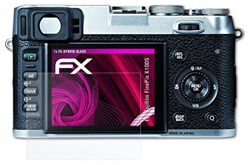 Fujifilm FinePix X100S Glasfolie - atFoliX FX-Hybrid-Glass hartbeschichtete elastische 9H Kunststoffglas Folie...