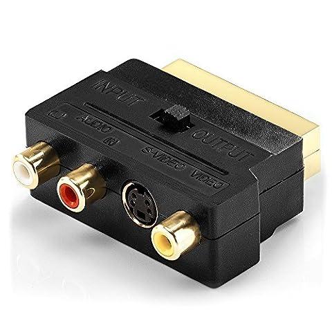 Top-Longer Adaptateur Péritel Entrée-Sortie Commutable Composite RCA et S-Vidéo vers Scart