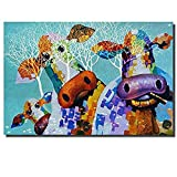 XIAOXINYUAN 100% Handgemalt Abstrakt Tier Oil Painting Cartoon Kühe Wall Art Bilder Für Kinderzimmer Home Decor 80 X 100Cm