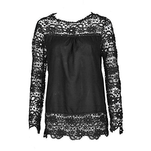 AMUSTER Moda Donna Sciolto Cotone Top T Shirt Manica Lunga Camicia Camicetta Di Pizzo Casual Nero
