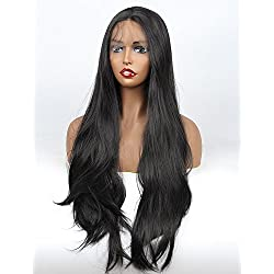 vvBing Black Hair Synthetic Lace Front Wig Long Udreamy Nautral Straight Glueless Replacement Hair Wigs For Women Heat Resistant Fiber Hair Half Hand Tied #1b 26 Inches