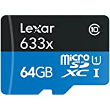 Lexar High-Performance microSDXC 633x 64Go UHS-I Cartes Incluent un Adaptateur SD - LSDMI64GBBEU633A
