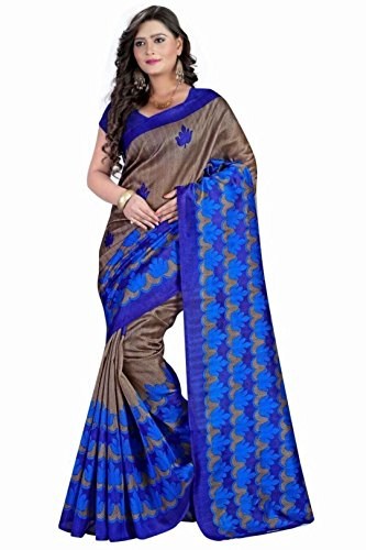 Vipul Women's Branded BLUE Party Wear Printed Silk Saree ( Bollywood Designer Saree With Designer Blouse Best Gift For Mummy Mom Wife Girl Friend, Exclusive Offers and Sale Discount 2017 )  available at amazon for Rs.197