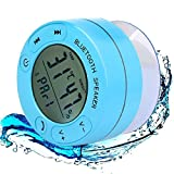 Cassa minispeaker altoparlante waterproof AXELENS - Con Bluetooth e microfono - Con ventosa per attaccarla a tutti i tipi di superfici - Rispondi alle chiamate e ascolta la tua musica sotto la doccia! - Con display indicatore di umidità e temperatura - AZZURRO