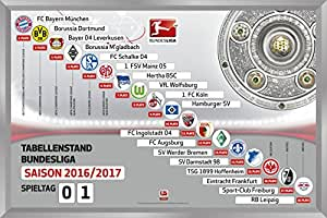 1. Fußball Bundesliga Magnettabelle Magnettafel 2016 – 2017 XXL Riesenmagnettabelle 60 x 40 cm DFL