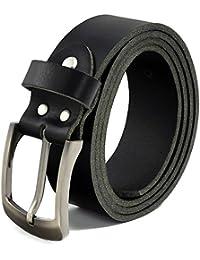 Fa.Volmer ® Schwarze Ledergürtel aus Büffelleder, 38mm breit und ca. 3-4mm stark, kürzbar #10125