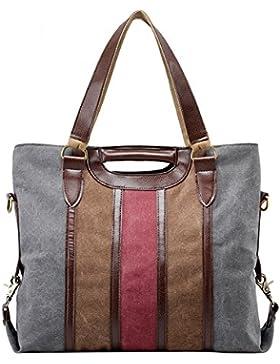 PB-SOAR Damen Vintage Canvas Shopper Schultertasche Umhängetasche Henkeltasche Handtasche Vielseitige Tasche