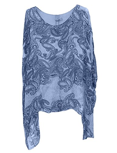 Ladies Womens Italian Lagenlook NEW BIG Paisley Print Silk Flowy Batwing Tunic Top Blouse One Size (One Size, Dark Blue) (Sleeve Neck Batwing Scoop)