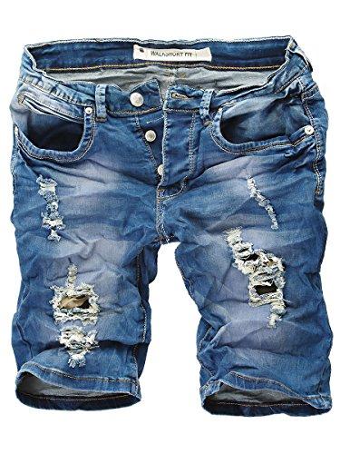 Baumwolle Crinkle-shorts (L.A.B 1928 Herren Jeans Shorts 8257 Blau W29)