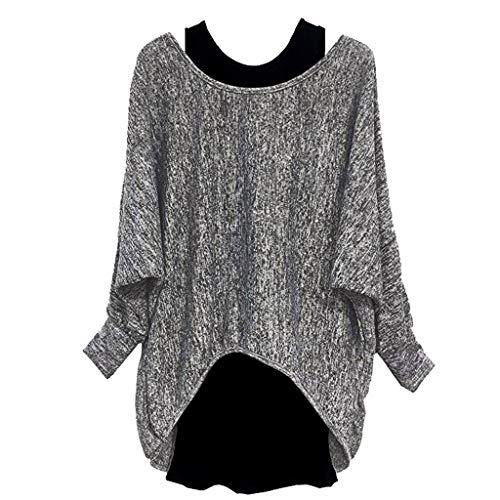 yazidan Damen Oversize Oberteile Tshirt/Pullover Langarmshirt T-Shirt Blusen Jumper Hemd