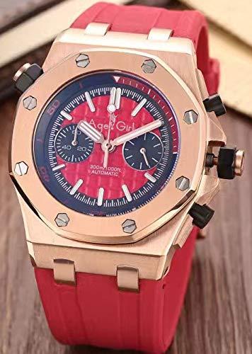 KLMADSB Armbanduhr Herren Uhren Luxusmarke New Men Sportuhren Edelstahl Rose Gold Silber Schwarz Rubber Luminous Chronograph Sapphire Watch AAA Rose Gold Red - Red Watch Gold