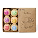 U-Kiss 6 PCS Bath Bomb Gift Set, All Natural Essential Oil Bath Bomb, Birthday Gifts for her, Teen girls, Valentine gift
