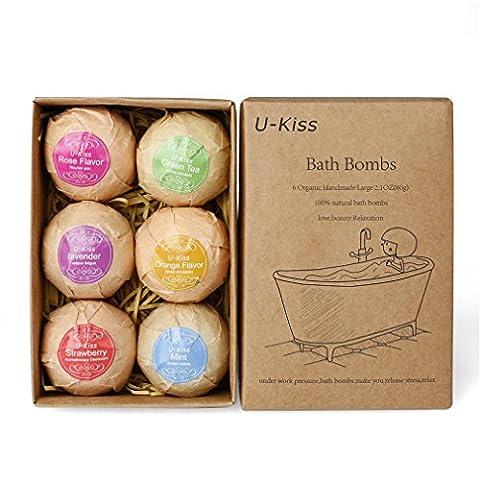 U-KISS 6 PCS Bath Bombe Geschenk Set, alle natürlichen ätherischen Öl Bad Bombe, Geburtstag Geschenke für sie, Teen Mädchen, Valentine Geschenk