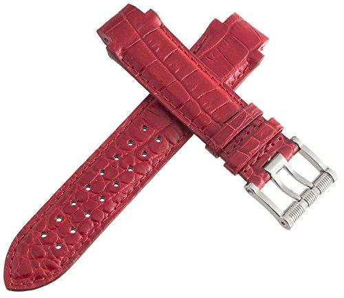 aquanautic Herren Rot Alligator Leder Armband mit Schnalle aus 15mm