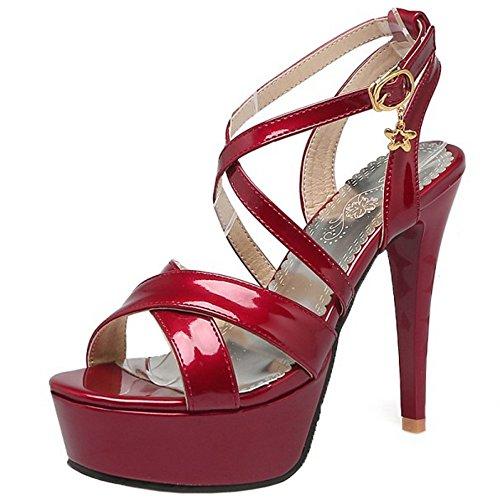 TAOFFEN Damen Classic Plateau Stiletto Sandalen Criss Cross Slingback Schuhe Rot
