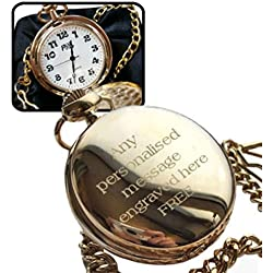 Personalised Engraved Gold Plated Pocket Watch