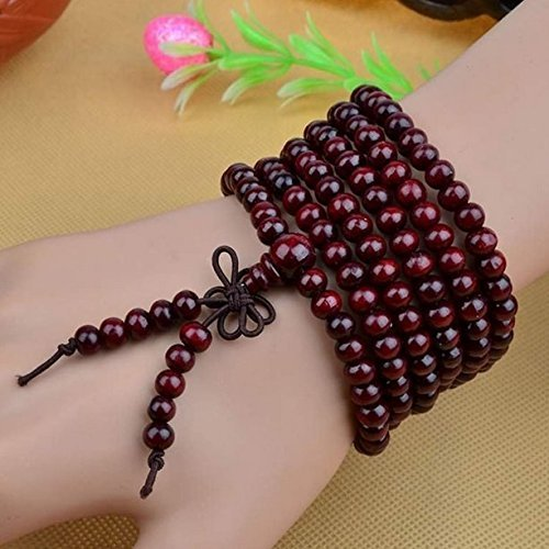 AUCH 1Pcs Womens Mens Unisex Buddhist Strand Bracelets Wood Buddha Meditation Prayer Beads 6mm*216 Sandalwood Prayer Bead Necklace(Wine Red)