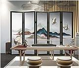 Apoart papier peint Peinture murale de mur de fond simple rétro paysage chinois grue TV 200X140cm(78.74 * 55.11in)