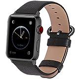 kompatibel Apple Watch Armband in 15 Farben, Fullmosa® Uhrenarmband 38mm(40mm)/42mm(44mm) Ersatz Apple Watch Lederarmband mit Edelstahlschließe für iwatch Series 4 3 2 1,Space grau+Spacegrauschnalle 42mm/44mm