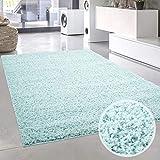 carpet city Shaggy Pastell Läufer Teppich Hochflor Langflor Einfarbig/Uni in Soft-Türkis, Hell-Blau aus Polypropylen für Wohn-Schlafzimmer, Größe: 70x140 cm