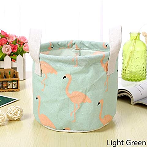 GbaoY Table Storage Box Polar Bear and Flamingo Storage Basket Coffee and Green Mini Storage Bag for Kids Toys (Light Green Flamingo)