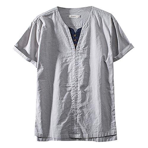 Eaylis Herren T-Shirt Chinesischen Stil GefäLschte Kette DüNnschliff Einfarbig Baumwolle Und Leinen Casual Kurzarm