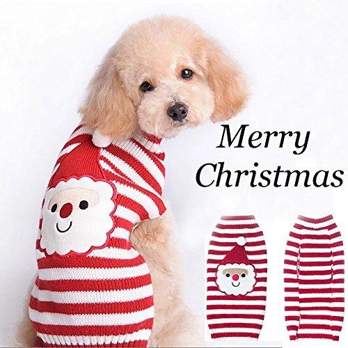 Pevor Pet Weihnachten Santa Claus Pullover-Puppy Hund Katze Urlaub Cartoon Clown Weihnachten Winter Strickwaren Warm Coat für Neue Jahr Weihnachten Party, S, Santa Claus (Neue Jahr Partys)