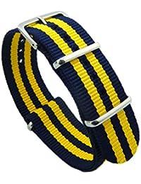 20mm azul oscuro / amarillo de lujo de lujo de la NATO estilo delicado exóticos hombres de nylon correa de banda de reloj