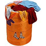 Multipurpose Foldable & Collapsible 50-Litre Pop-Up Laundry Bag Basket with Zippered Lid and Carry Handle