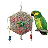 Bamboo Weaving Paper Strips Parrot Bird Toy for Budgie Parakeet Cockatiel Conure Lovebird Finch Cockatoo African Grey Macaw Eclectus Amazon Cage