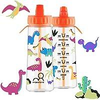 HydrateM8 Orange Kids Water Bottle 'Dinosaurs' with Hydration Tracker 600ml, BPA Free