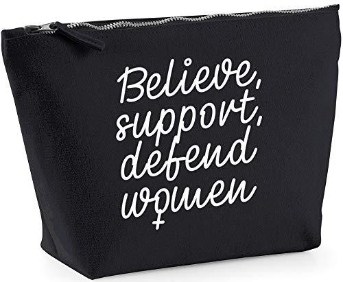 Hippowarehouse Believe Support Defend Women Feminism Bolsa de Lavado cosmética Maquillaje Impreso 18x19x9cm