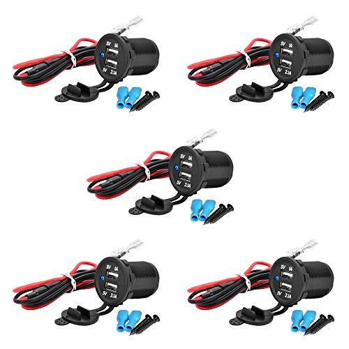 MMOBIEL 5er Pack Universal Waterproof Dual USB Charger Blue LED Indicator Power Outlet Socket 12V-24V Output 5V 2.1A High Speed Charger 12v Dual Outlet