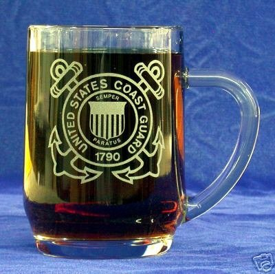 Custom Etched US Coast Guard Emblem on 20 oz Mug (1) by PG SEEDS GIFT SHOP (Emblem Coast Guard)