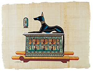 """Leolana Egyptian Papyrus """"Anubis-Gof Of The Dead"""" Hand Painted Painting on 100% Authentic Egyptian Papyrus Paper-13x17-Multi Color by Leolana"""