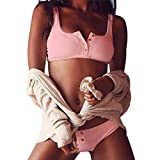 Malloom® Frauen Push-Up gepolsterte BH Beach Bikini Set Badeanzug Bademode weiß (rosa, L)