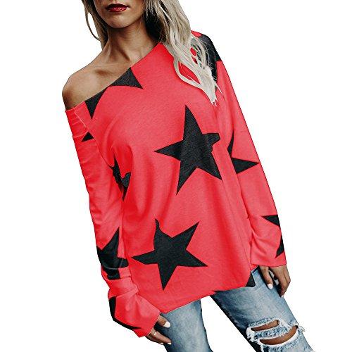 ESAILQ Frauen Mädchen Strapless Star Sweatshirt Langarm Crop Jumper Pullover Tops (XXXXL, Rot)