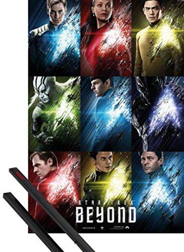 Poster + Sospensione : Star Trek Poster Stampa (91x61 cm) Beyond, Characters E Coppia Di Barre Porta Poster Nere 1art1®