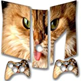 Braune Katze, Designfolie Sticker Skin Aufkleber Schutzfolie mit Farbenfrohem Design für XBOX 360 Slim