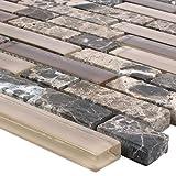 Mosaikfliesen Milos Glas Naturstein Mix Braun Verbund | Wand-Mosaik | Mosaik-Fliesen | Naturstein-Mosaik | Fliesen-Bordüre | Ideal für den Wohnbereich und fürs Badezimmer (auch als Muster erhältlich)