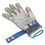 Guanti Antitaglio MOHOO Protezione Alta Prestazione Cut Sicurezza Proof Stab Resistente in Acciaio Inossidabile Maglia del Metallo Butcher Glove Clip (Guanti Antitaglio) (Guanti Antitaglio Protezione)
