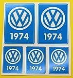 VW 1974 VOLKSWAGEN Jahr Datum aufkleber INNENGLAS KÄFER ERKERFENSTER CAMPER