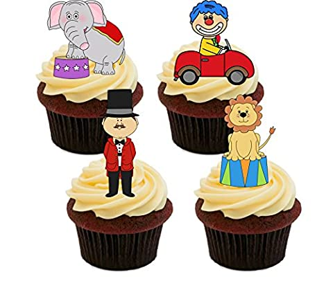Circus Fun! Edible Cupcake Toppers - Stand-up Wafer Cake Decorations (Pack of 12)