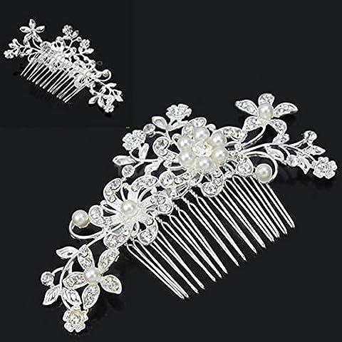 KaLaiXing® Pettine per capelli con perle e cristallo simulato Vintage lato pettini matrimonio copricapo Accessori per matrimonio